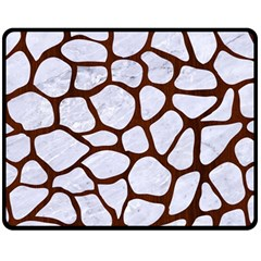 Skin1 White Marble & Reddish Brown Wood Fleece Blanket (medium)  by trendistuff