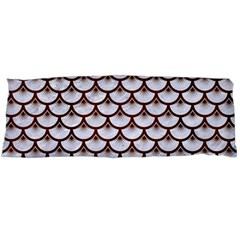 Scales3 White Marble & Reddish Brown Wood (r) Body Pillow Case (dakimakura)