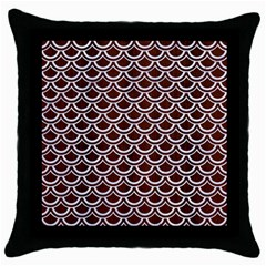 Scales2 White Marble & Reddish Brown Wood Throw Pillow Case (black)