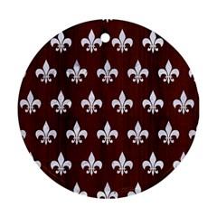 Royal1 White Marble & Reddish Brown Wood (r) Ornament (round) by trendistuff