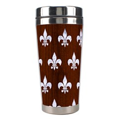 Royal1 White Marble & Reddish Brown Wood (r) Stainless Steel Travel Tumblers
