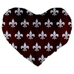Royal1 White Marble & Reddish Brown Wood (r) Large 19  Premium Flano Heart Shape Cushions by trendistuff