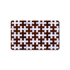 Puzzle1 White Marble & Reddish Brown Wood Magnet (name Card) by trendistuff