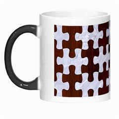 Puzzle1 White Marble & Reddish Brown Wood Morph Mugs by trendistuff