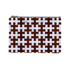 Puzzle1 White Marble & Reddish Brown Wood Cosmetic Bag (large)  by trendistuff