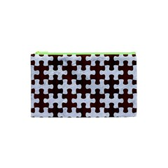 Puzzle1 White Marble & Reddish Brown Wood Cosmetic Bag (xs) by trendistuff