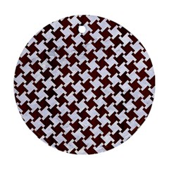 Houndstooth2 White Marble & Reddish Brown Wood Round Ornament (two Sides) by trendistuff