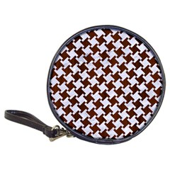 Houndstooth2 White Marble & Reddish Brown Wood Classic 20 Cd Wallets by trendistuff