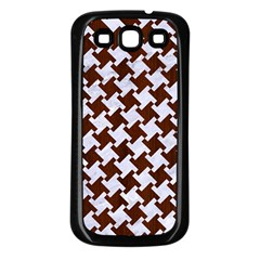 Houndstooth2 White Marble & Reddish Brown Wood Samsung Galaxy S3 Back Case (black)