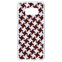 Houndstooth2 White Marble & Reddish Brown Wood Samsung Galaxy S8 White Seamless Case by trendistuff