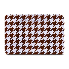Houndstooth1 White Marble & Reddish Brown Wood Plate Mats by trendistuff
