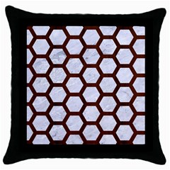 Hexagon2 White Marble & Reddish Brown Wood (r) Throw Pillow Case (black) by trendistuff