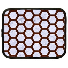 Hexagon2 White Marble & Reddish Brown Wood (r) Netbook Case (large) by trendistuff
