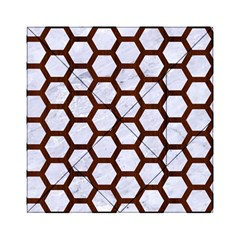 Hexagon2 White Marble & Reddish Brown Wood (r) Acrylic Tangram Puzzle (6  X 6 ) by trendistuff