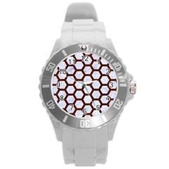 Hexagon2 White Marble & Reddish Brown Wood (r) Round Plastic Sport Watch (l) by trendistuff