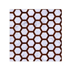 Hexagon2 White Marble & Reddish Brown Wood (r) Small Satin Scarf (square) by trendistuff