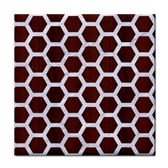 Hexagon2 White Marble & Reddish Brown Wood Tile Coasters by trendistuff
