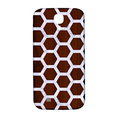 Hexagon2 White Marble & Reddish Brown Wood Samsung Galaxy S4 I9500/i9505  Hardshell Back Case by trendistuff