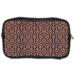 Hexagon1 White Marble & Reddish Brown Wood Toiletries Bags 2 Side by trendistuff