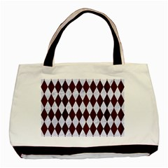 Diamond1 White Marble & Reddish Brown Wood Basic Tote Bag (two Sides) by trendistuff