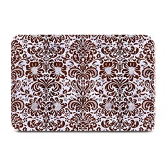 Damask2 White Marble & Reddish Brown Wood (r) Plate Mats by trendistuff