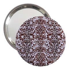 Damask2 White Marble & Reddish Brown Wood (r) 3  Handbag Mirrors by trendistuff
