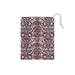 Damask2 White Marble & Reddish Brown Wood (r) Drawstring Pouches (small)  by trendistuff