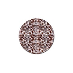 Damask2 White Marble & Reddish Brown Wood Golf Ball Marker by trendistuff