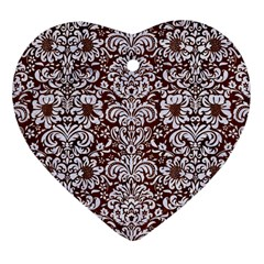 Damask2 White Marble & Reddish Brown Wood Heart Ornament (two Sides) by trendistuff