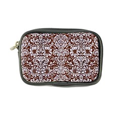 Damask2 White Marble & Reddish Brown Wood Coin Purse by trendistuff