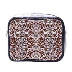 Damask2 White Marble & Reddish Brown Wood Mini Toiletries Bags by trendistuff
