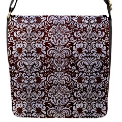 Damask2 White Marble & Reddish Brown Wood Flap Messenger Bag (s) by trendistuff