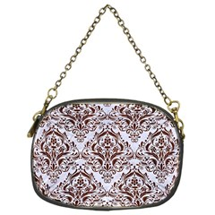 Damask1 White Marble & Reddish Brown Wood (r) Chain Purses (one Side)  by trendistuff