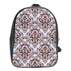 Damask1 White Marble & Reddish Brown Wood (r) School Bag (large) by trendistuff