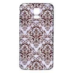 Damask1 White Marble & Reddish Brown Wood (r) Samsung Galaxy S5 Back Case (white) by trendistuff