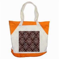Damask1 White Marble & Reddish Brown Wood Accent Tote Bag by trendistuff