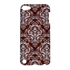 Damask1 White Marble & Reddish Brown Wood Apple Ipod Touch 5 Hardshell Case by trendistuff