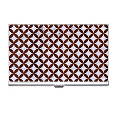 Circles3 White Marble & Reddish Brown Wood (r) Business Card Holders by trendistuff