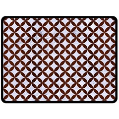 Circles3 White Marble & Reddish Brown Wood (r) Double Sided Fleece Blanket (large)  by trendistuff