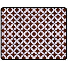 Circles3 White Marble & Reddish Brown Wood Fleece Blanket (medium)  by trendistuff