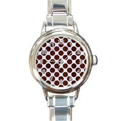 Circles2 White Marble & Reddish Brown Wood (r) Round Italian Charm Watch by trendistuff