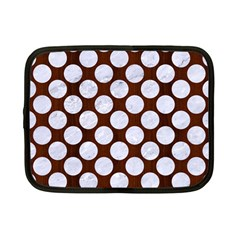 Circles2 White Marble & Reddish Brown Wood Netbook Case (small)  by trendistuff