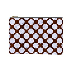 Circles2 White Marble & Reddish Brown Wood Cosmetic Bag (large)  by trendistuff