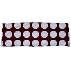 Circles1 White Marble & Reddish Brown Wood Body Pillow Case (dakimakura)