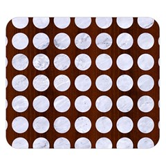 Circles1 White Marble & Reddish Brown Wood Double Sided Flano Blanket (small)