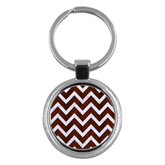 Chevron9 White Marble & Reddish Brown Wood Key Chains (round)  by trendistuff