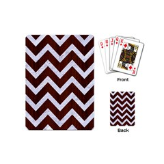 Chevron9 White Marble & Reddish Brown Wood Playing Cards (mini)  by trendistuff