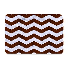 Chevron3 White Marble & Reddish Brown Wood Plate Mats by trendistuff