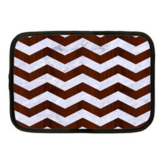 Chevron3 White Marble & Reddish Brown Wood Netbook Case (medium)  by trendistuff