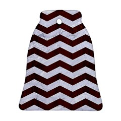 Chevron3 White Marble & Reddish Brown Wood Bell Ornament (two Sides) by trendistuff